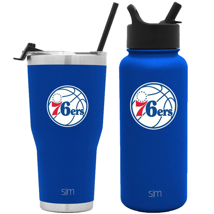 NBA Bundle Philadelphia 76ers 30oz Cruiser Tumbler with Straw and 32oz Summit with Straw Lid Bundle