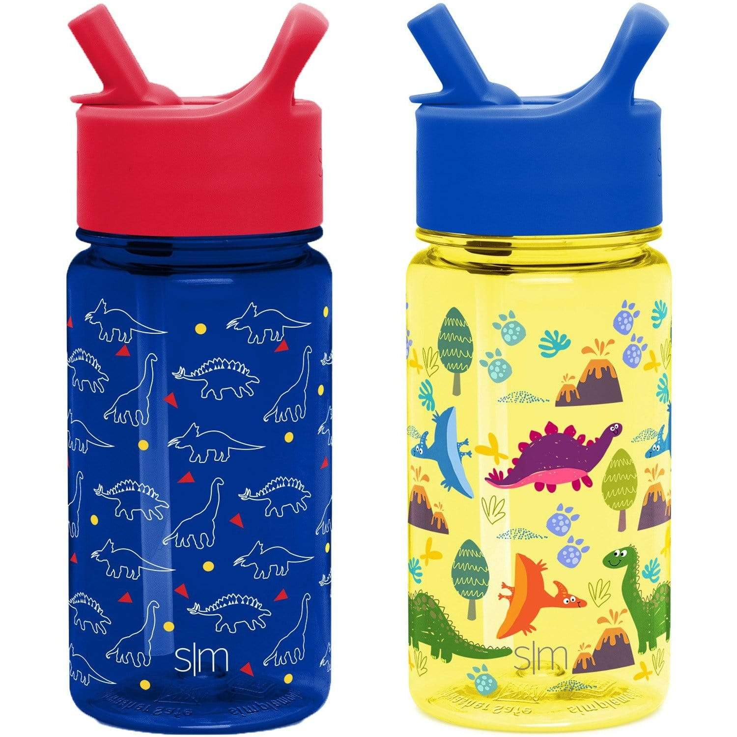 Summit Kids Tritan Plastic Water Bottle With Straw Lid Two Pack 16oz Simple Modern