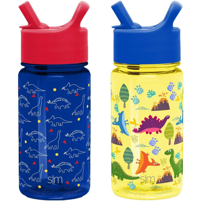 Dinosaurs / Sunshine Dino Summit Water Bottle Summit Kids Tritan Plastic Water Bottle with Straw Lid Two-Pack - 16oz