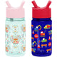 Fox and the Flower / Under Construction Summit Water Bottle Summit Kids Tritan Plastic Water Bottle with Straw Lid Two-Pack - 12oz