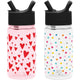 Hearts / Polka Play Summit Water Bottle Summit Kids Tritan Plastic Water Bottle with Straw Lid Two-Pack - 12oz