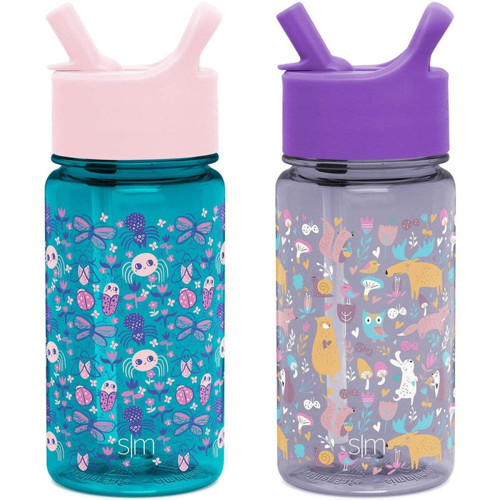 Ladybug Garden / Woodland Friends Summit Water Bottle Summit Kids Tritan Plastic Water Bottle with Straw Lid Two-Pack - 12oz