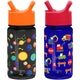Solar System / Under Construction Summit Water Bottle Summit Kids Tritan Plastic Water Bottle with Straw Lid Two-Pack - 12oz