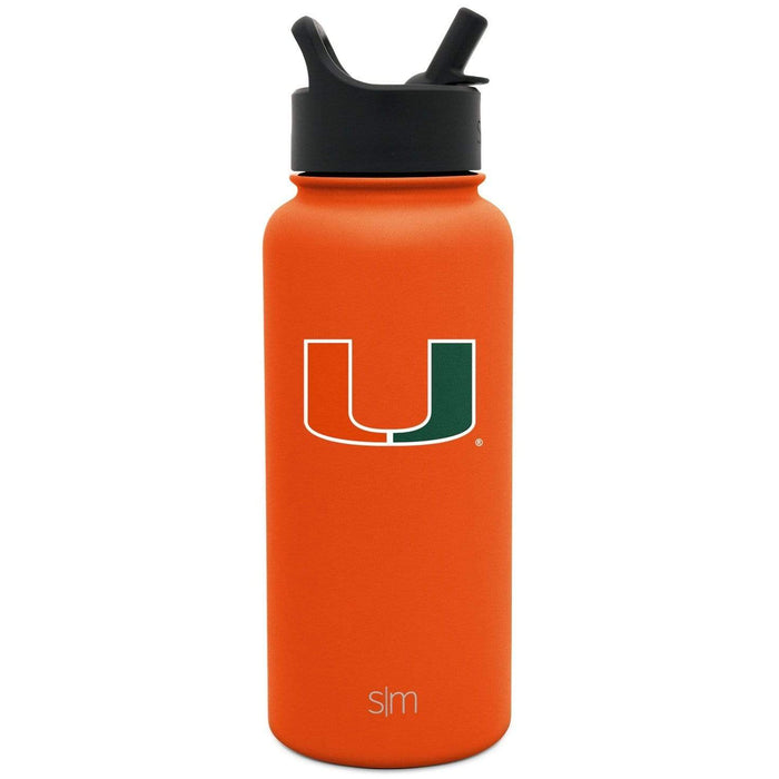 Summit Water Bottle University of Miami 32oz Summit Bottle with Straw