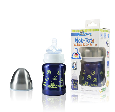 Pacific Baby Hot-Tot Stainless Steel Insulated Infant Baby 7 oz Eco Feeding Bottle Silver Blue
