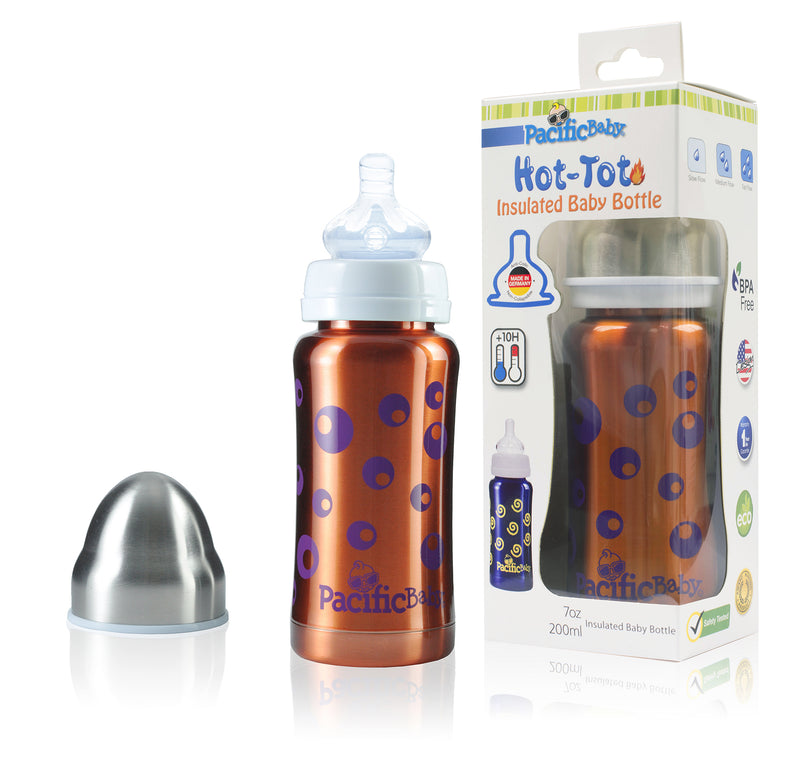 Pacific Baby Hot-Tot Stainless Steel Insulated Infant Baby 7 oz Eco Feeding Bottle Bubbles