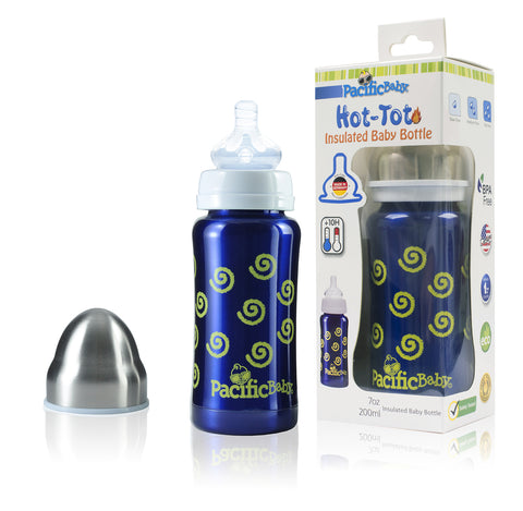 Pacific Baby Hot-Tot Stainless Steel Insulated 7 oz Infant Baby Eco Feeding Bottle - 2 Pack