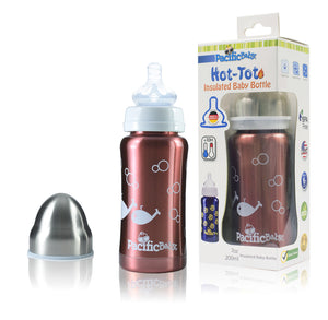 Pacific Baby Hot-Tot Stainless Steel Insulated Infant Baby 7 oz Eco Feeding Bottle Fish