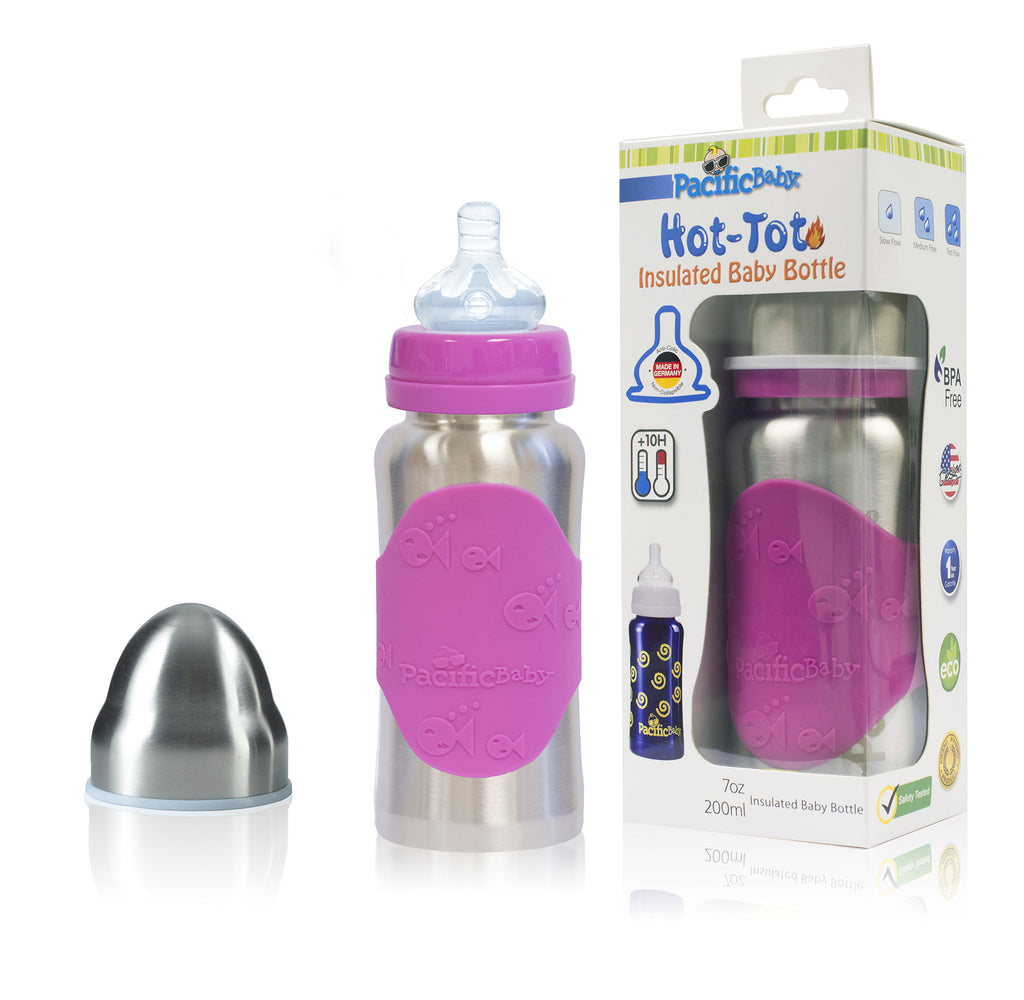 Hot-Tot Stainless Steel Insulated Infant Baby 7 oz Eco Feeding Bottle Silver Pink