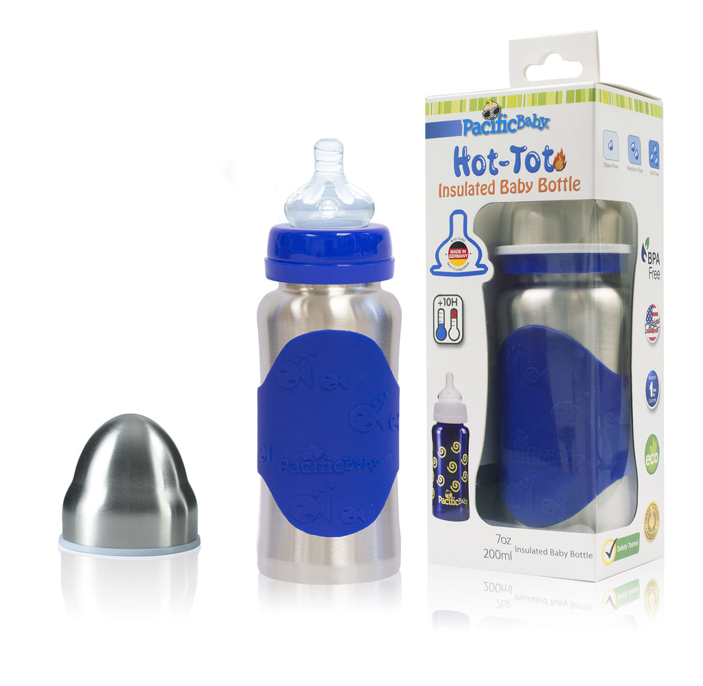 Hot-Tot Stainless Steel Insulated Infant Baby 7 oz Eco Feeding Bottle Silver Blue