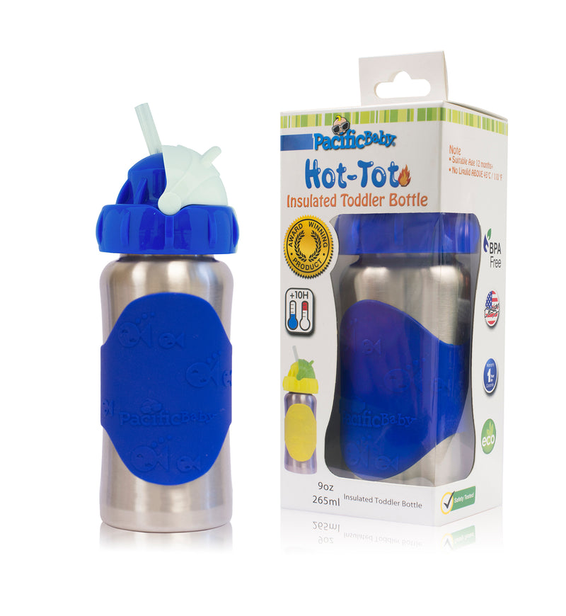 Hot-Tot 9oz Insulated Toddler Bottle Silver Blue