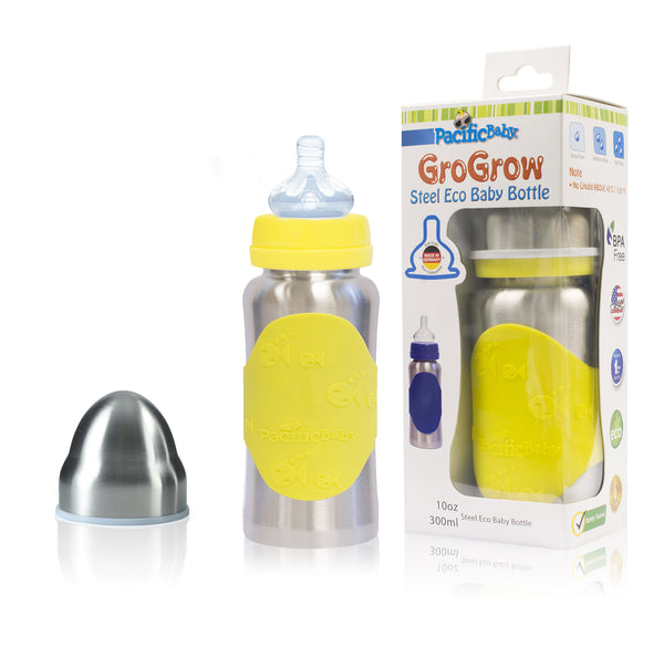 GroGrow 10 oz Steel Eco Baby Bottle Silver Yellow