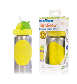 GroGrow 13oz Steel Eco Toddler Bottle  Silver Yellow