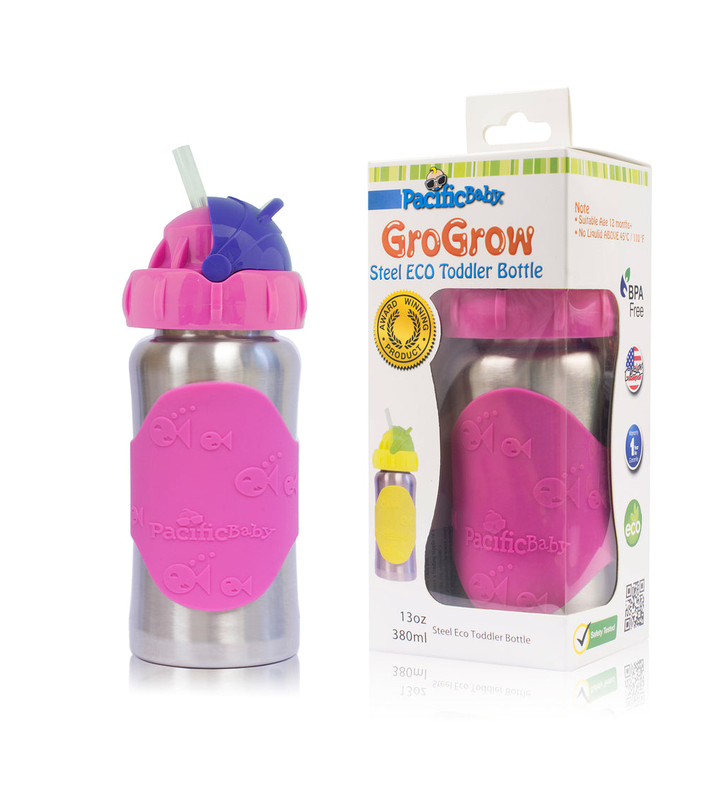 GroGrow 13oz Steel Eco Toddler Bottle  Silver Pink
