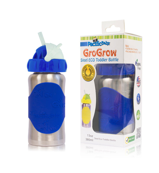 GroGrow 13oz Steel Eco Toddler Bottle  Silver Blue