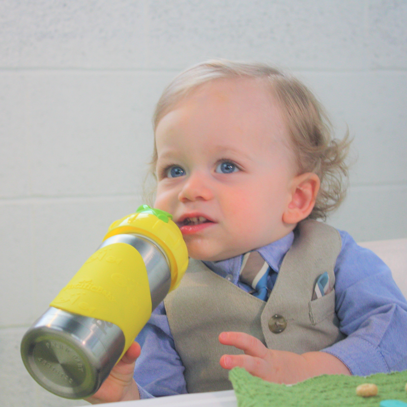 Hot-Tot Stainless Steel Insulated 9 oz Toddler Baby Eco Feeding Bottle Silver Yellow