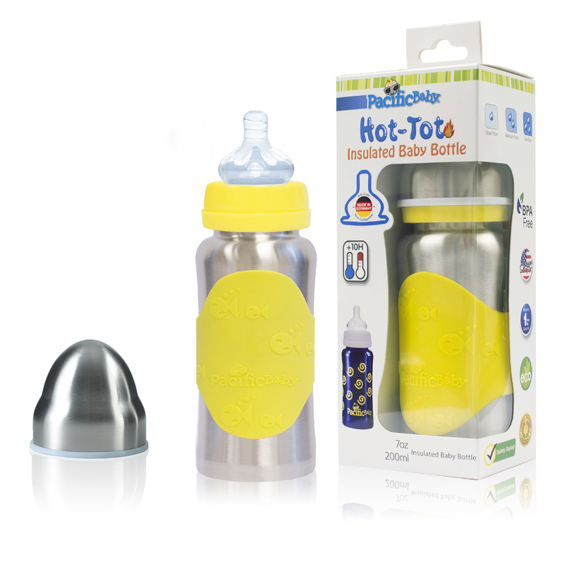 Hot-Tot 7oz Insulated Baby Bottle Silver Yellow