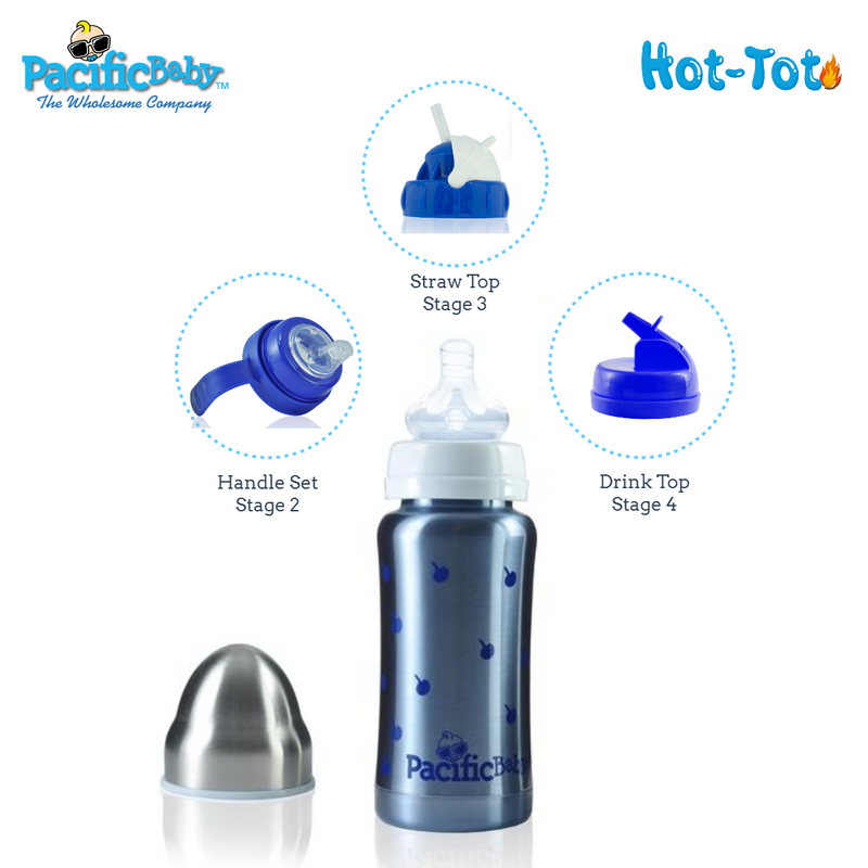 Pacific Baby Hot-Tot Stainless Steel Insulated Infant Baby 7 oz Eco Feeding Bottle Blueberries