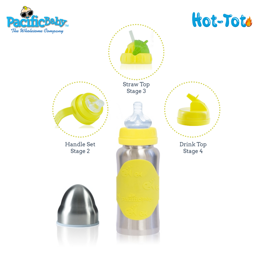 Hot-Tot Stainless Steel Insulated Infant Baby 7 oz Eco Feeding Bottle Silver Yellow