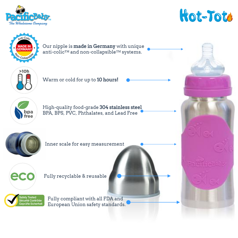 Hot-Tot 7oz Insulated Baby Bottle Silver Pink