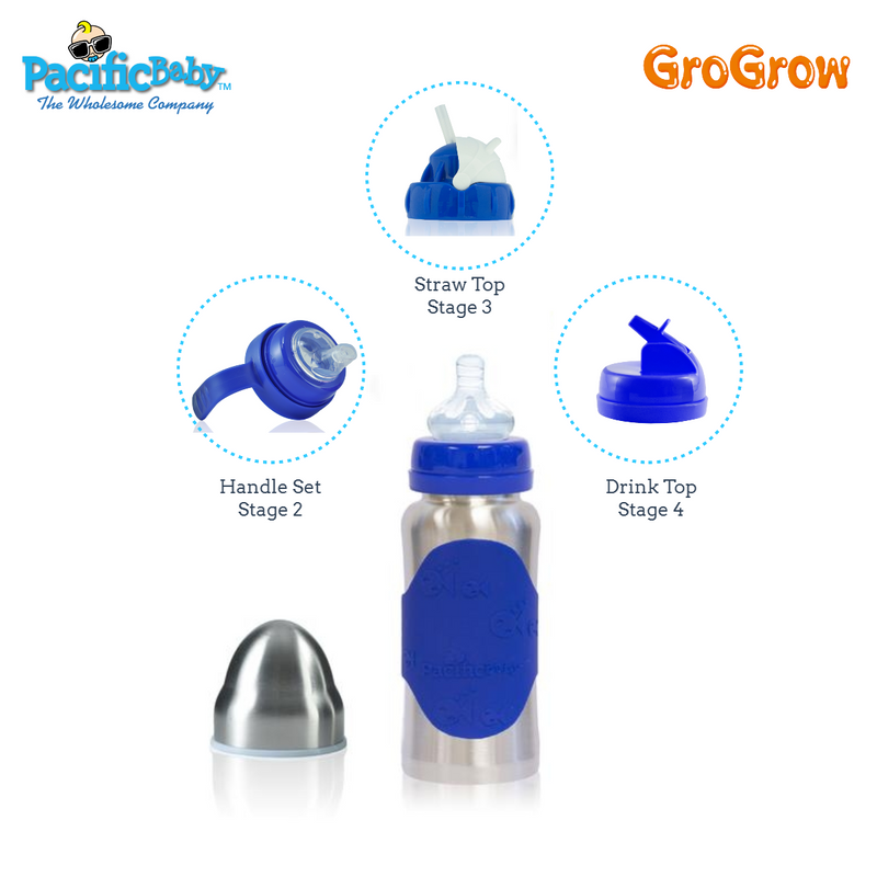 GroGrow 10 oz Steel Eco Baby Bottle Silver Blue