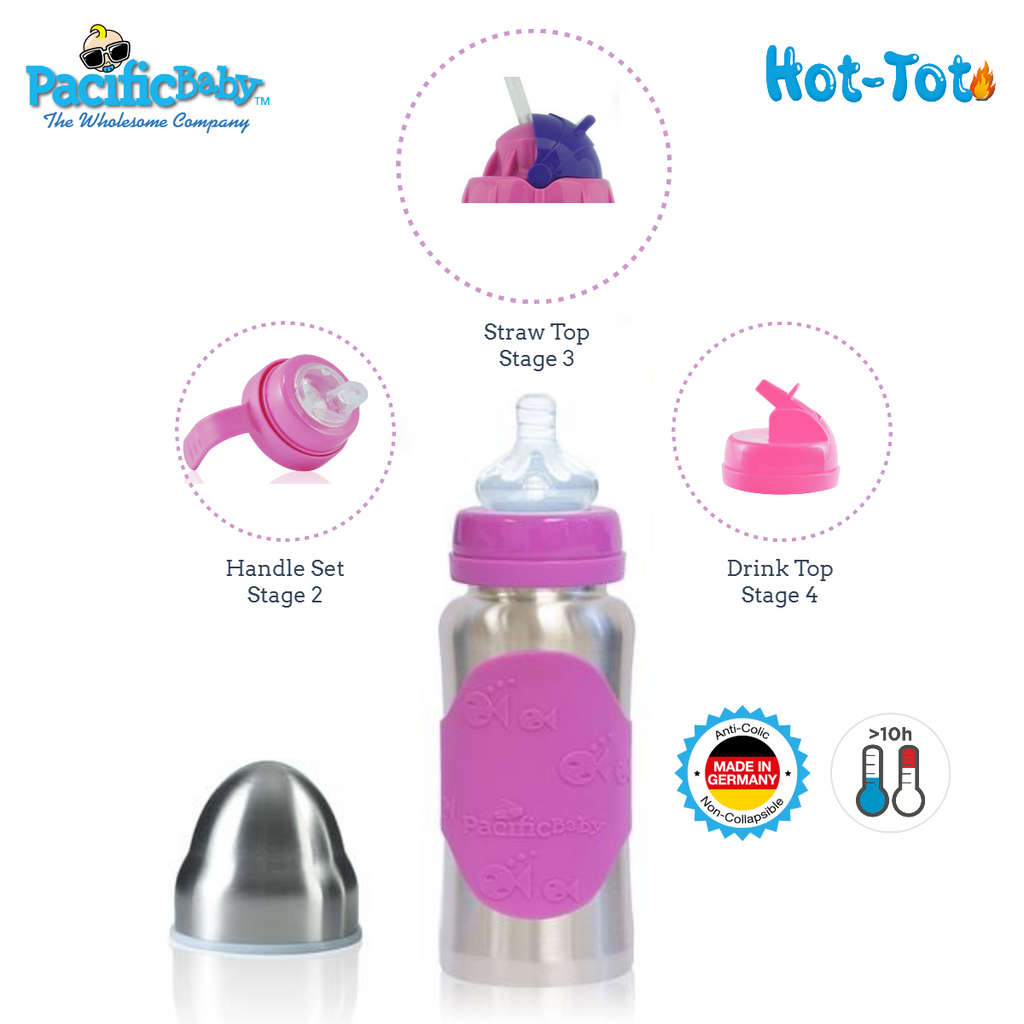 Pacific Baby Hot-Tot Stainless Steel Insulated Infant Baby 7 oz Eco Feeding Bottle Silver Pink