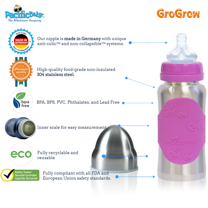 GroGrow 10 oz Steel Eco Baby Bottle Silver Pink