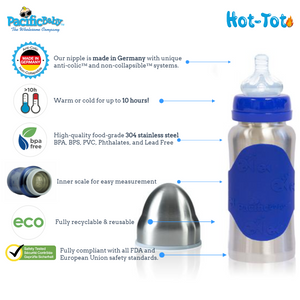 Hot-Tot Stainless Steel Insulated Infant Baby 7 oz Eco Feeding Bottle Blueberries