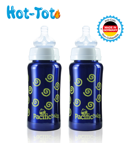 Hot-Tot Stainless Steel Insulated 9 oz Toddler Baby Eco Feeding Bottle