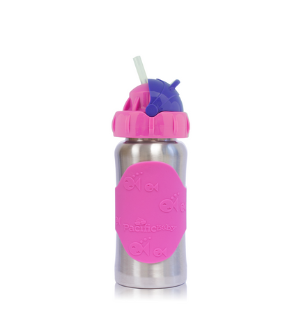 Pacific Baby Hot-Tot Stainless Steel Insulated Infant Baby 7 oz Eco Feeding Bottle Swirls