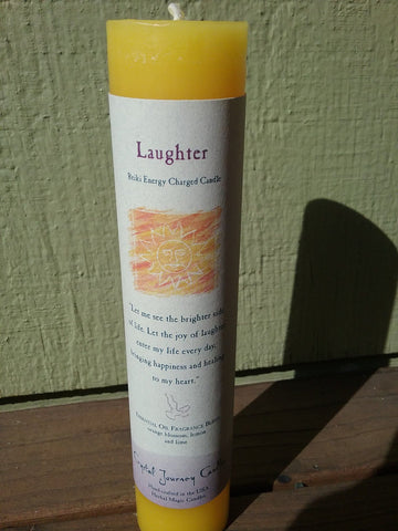 Laughter (Reiki Charged Herbal Candles) - Dragon Herbarium