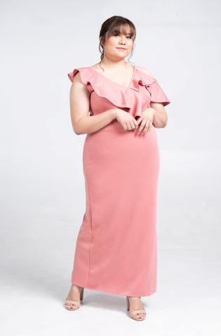 Plus Size One Shoulder Drape Ruffle Maxi Dress