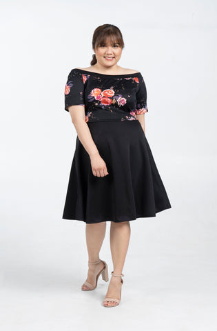 Plus Size Floral Off Shoulder Flare Dress