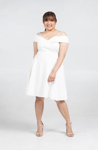 Plus Size Strappy Cold Shoulder Midi Skater Dress