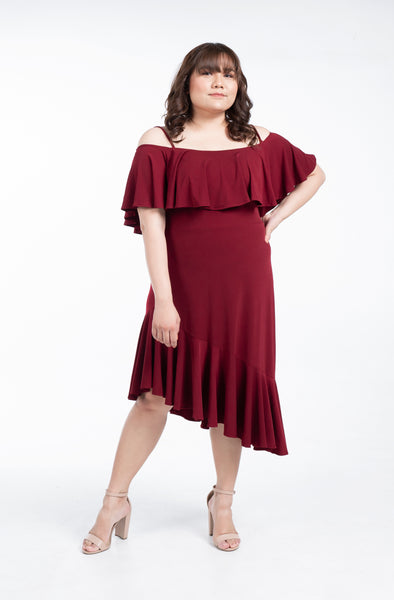 Plus Size Strappy Cold Shoulder Asymmetrical Ruffle Hem Dress