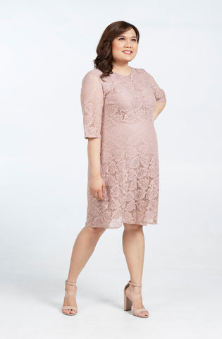Plus Size Lace Quarter Sleeve A-Line Midi Dress