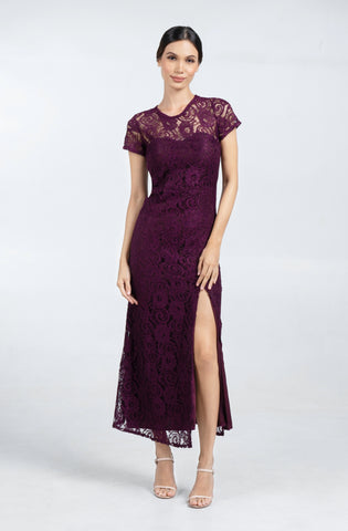 Lace High Slit Maxi Dress