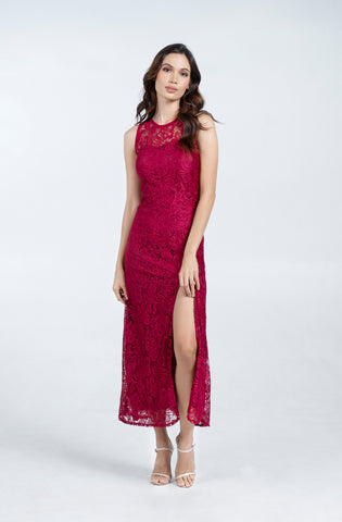 Lace Sleeveless With Slit Formal Maxi Dress