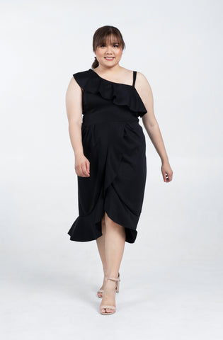 Plus Size One Shoulder Drape Ruffle Bridesmaid Dress