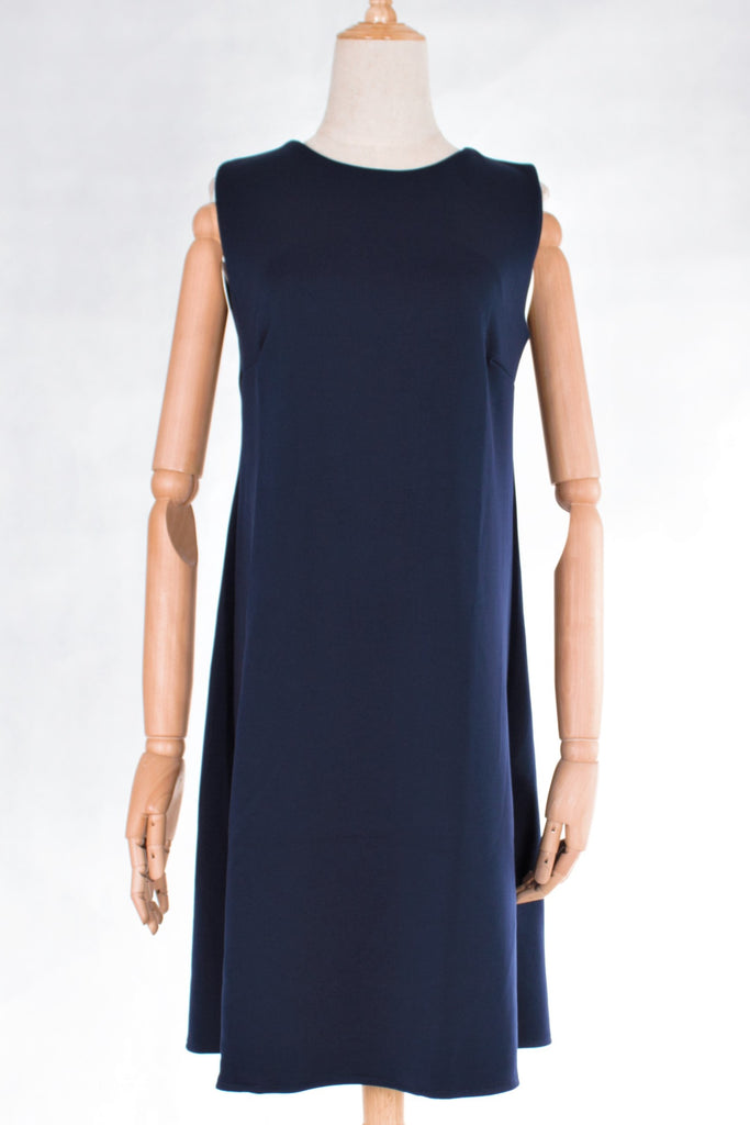 Round Neckline Sleeveless Midi Shift Dress with FREE Washable Face Mask