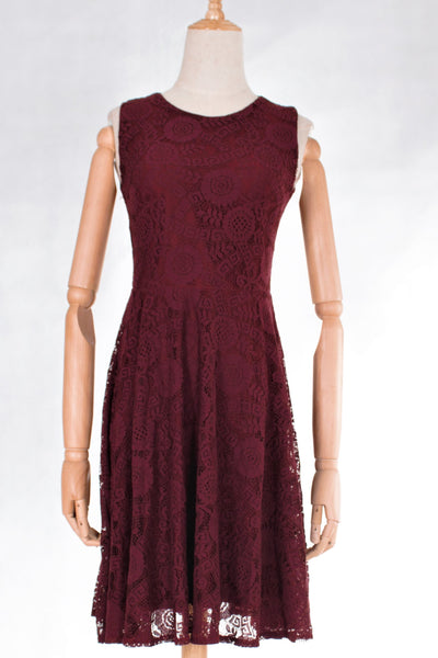 Lace Sleeveless Fit & Flare Dress with FREE Washable Face Mask