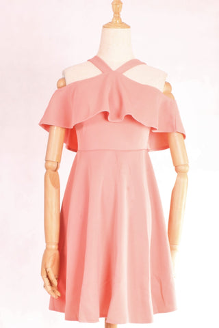 Halter Frills Fit And Flare Dress with FREE Washable Care Mask