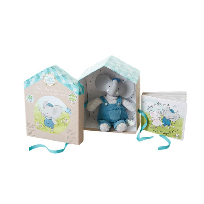 Alvin Teether Teddy and Book Gift Set Little Earth Nest Baby Gifts at Little Earth Nest Eco Shop