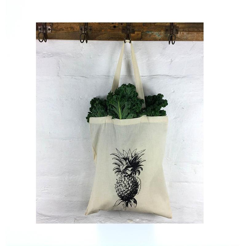 Apple Green Duck Calico Bag Apple Green Duck Reusable Bags Pineapple at Little Earth Nest Eco Shop