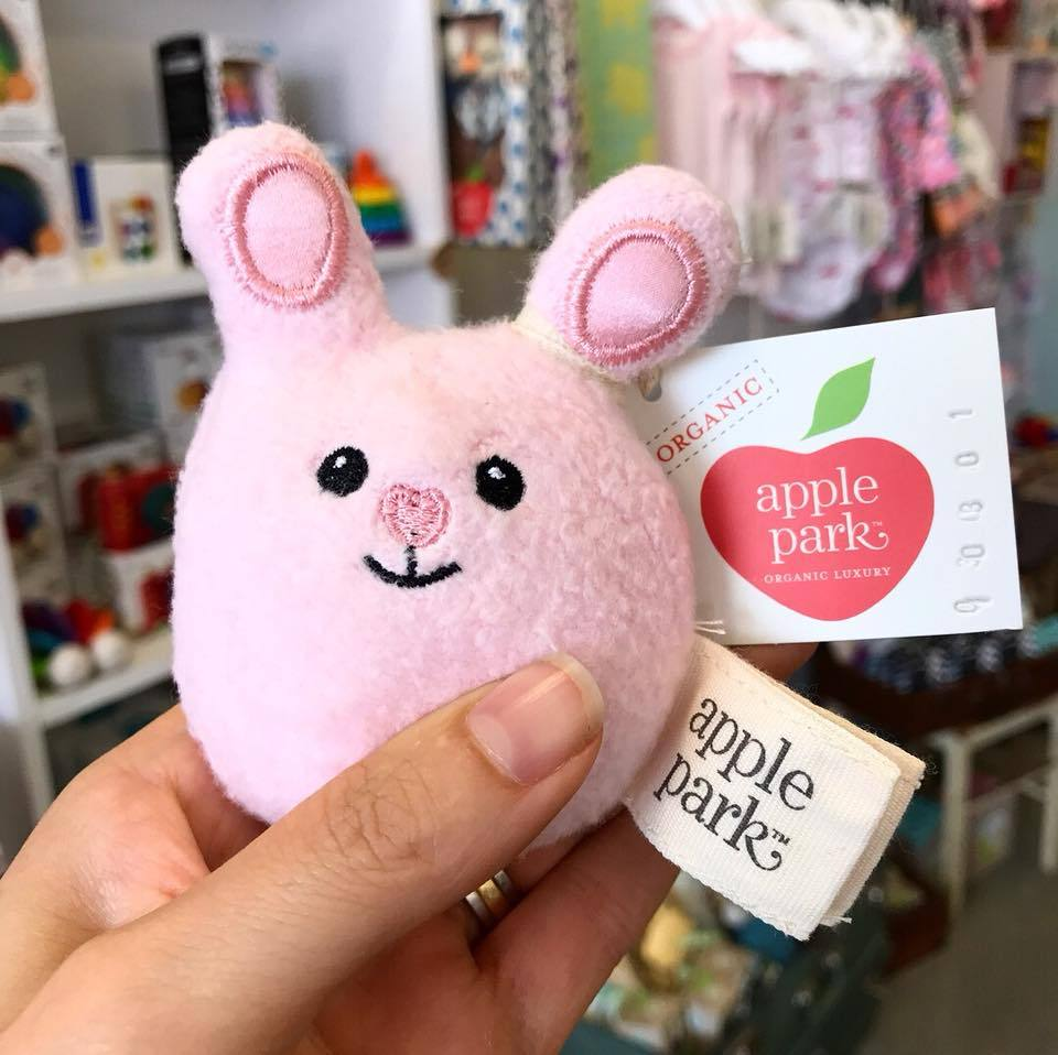 Apple Park Mini Bunny Rattle Apple Park Organic Rattles at Little Earth Nest Eco Shop