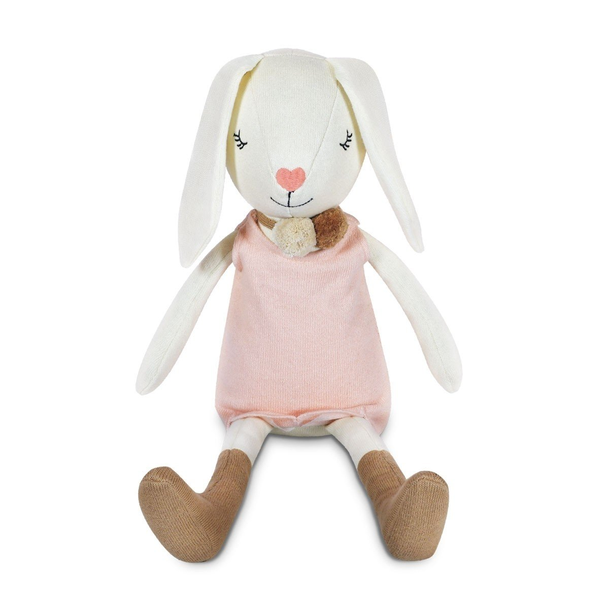 Apple Park Organic Cotton Knit Bunny Apple Park Organic Soft Toy Charlotte at Little Earth Nest Eco Shop