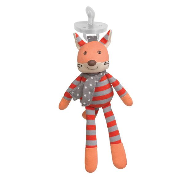 Apple Park Organic Mini Plush Toy with Dummy Holder Apple Park Organic Soft Toys Frenchy Fox at Little Earth Nest Eco Shop