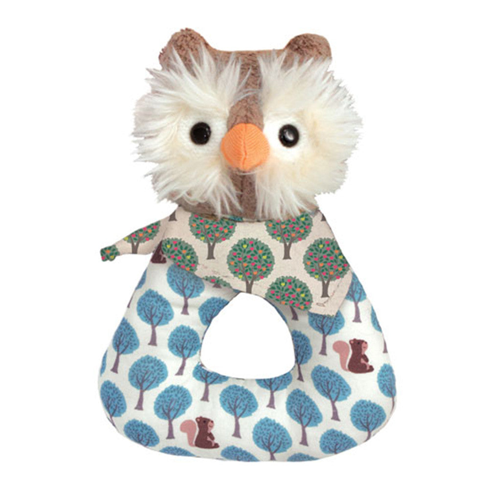 Apple Park Organic Baby Rattle Apple Park Organic Rattles Owl at Little Earth Nest Eco Shop
