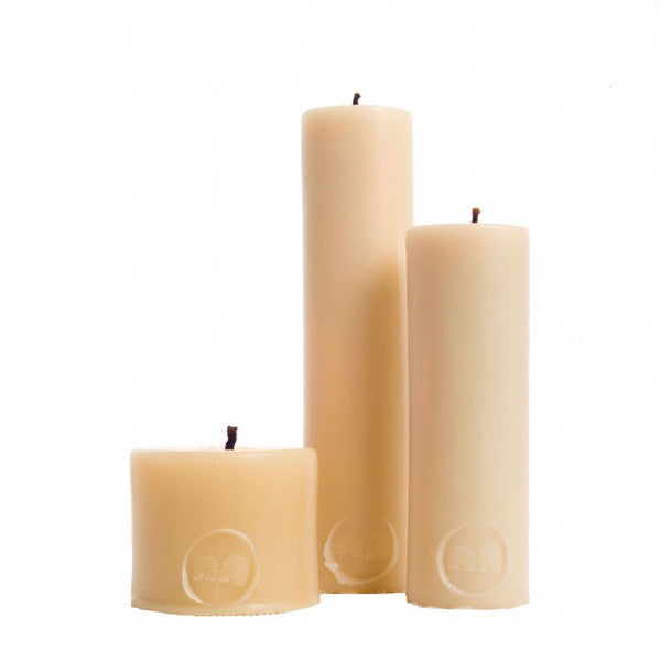 Beeswax Candles 8cm Solid Pillar - Pack of 2   - Queen B - Little Earth Nest