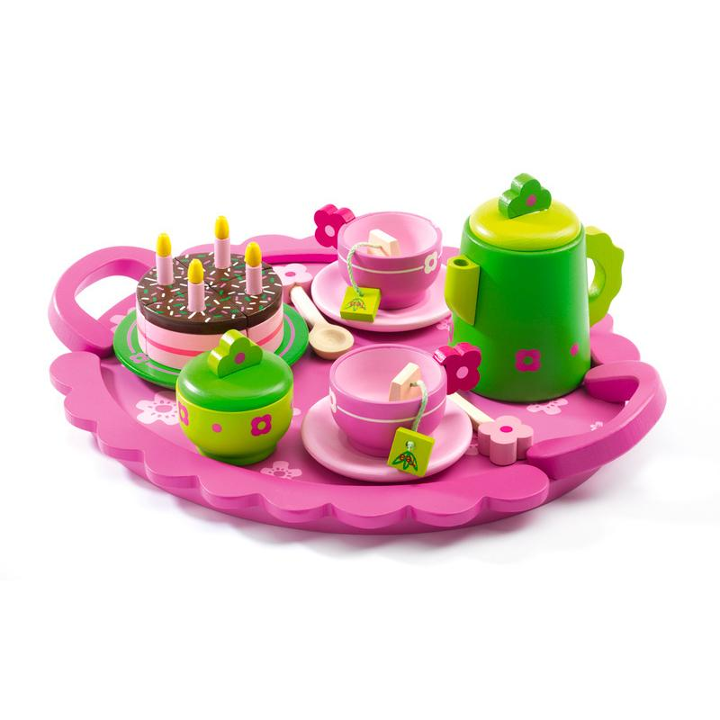 Birthday Tea Party Wooden Tea Set by Djeco Djeco Pretend Play at Little Earth Nest Eco Shop